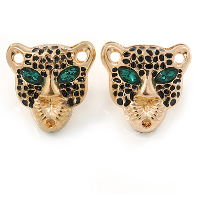 Gold Tone Black Enamel Tiger Stud Earrings - 20mm L