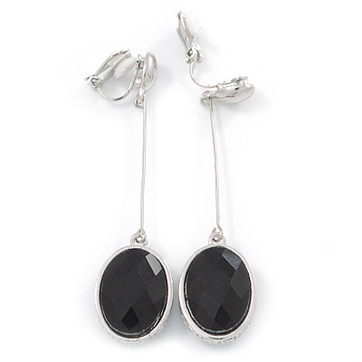 Black, Oval, Faceted, Glass Stone Metal Bar Drop Clip On Earrings In Silver Tone - 65mm L