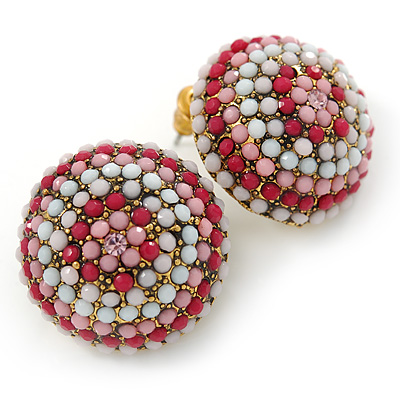 Boho Style Deep Pink/ White/ Baby Pink Beaded Dome Stud Earrings In Gold Tone - 22mm