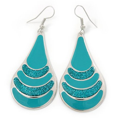 Teal Enamel With Glitter Teardrop Earrings In Silver Tone - 65mm L