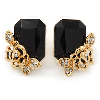 Black Square Glass with Rose Motif Stud Earrings In Gold Plating - 25mm L