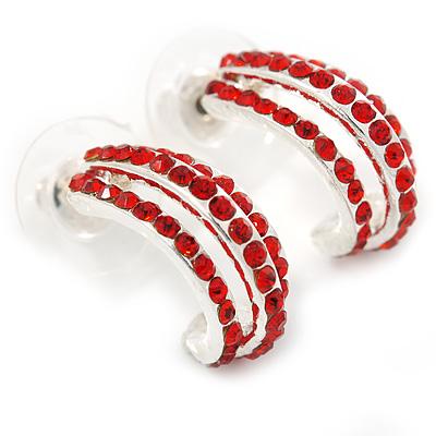 C Shape Red Crystal Drop Earrings In Silver Tone - 20mm L
