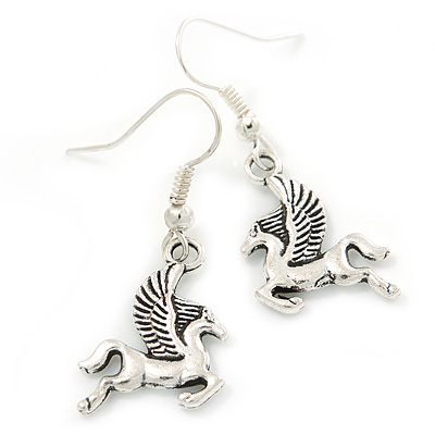 Small Pegasus the Winged Horse Drop Earrings In Silver Tone - 40mm L