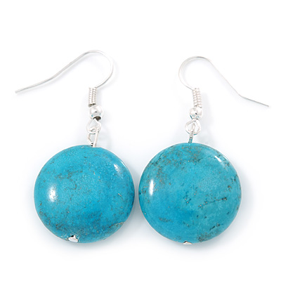 Coin Shape Turquoise Drop Earrings In Silver Tone - 40mm L