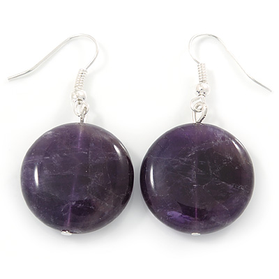 20mm Coin Amethyst Stone Drop Earrings In Silver Tone