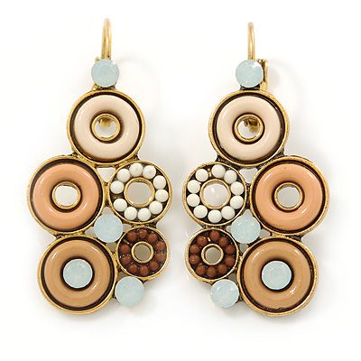 Bead, Crystal Multi Circle Drop Earrings with Leverback Closure In Gold Tone (Beige, Cream, Brown) - 42mm L