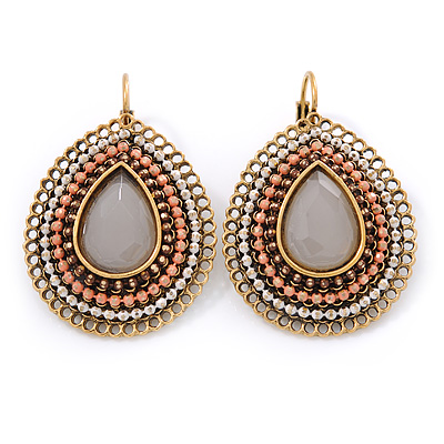 Bead, Crystal Teardrop Earrings with Leverback Closure In Gold Tone (White, Coral, Brown) - 40mm L