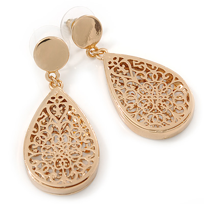Gold Plated Floral Filigree Teardrop Earrings - 45mm L