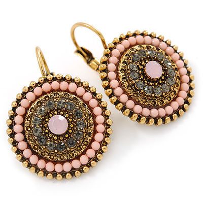Boho Style Bead, Crystal Round Drop Earrings with Leverback Closure In Gold Tone (Pink, Grey) - 30mm L