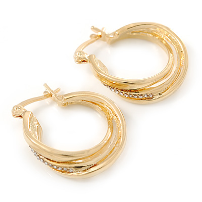 Small Crystal Twisted Hoop Earrings In Gold Plating - 23mm D