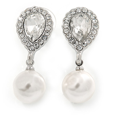 Bridal Wedding Prom Glass Pearl, Crystal Teardrop Earrings In Rhodium Plating - 30mm L