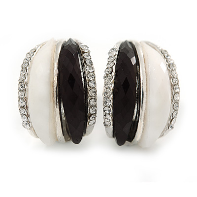 C Shape Black/ White Acrylic, Clear Crystal Stud Earrings In Silver Tone - 20mm - main view