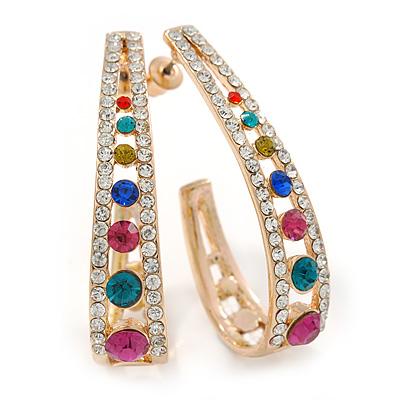 Multicoloured Crystal Half Hoop Earrings In Gold Plating - 43mm L