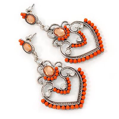 Orange Acrylic Bead, Clear Crystal Chandelier Earrings In Silver Tone - 60mm L - main view