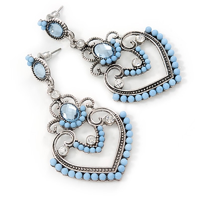 Light Blue Acrylic Bead, Clear Crystal Chandelier Earrings In Silver Tone - 60mm L - main view