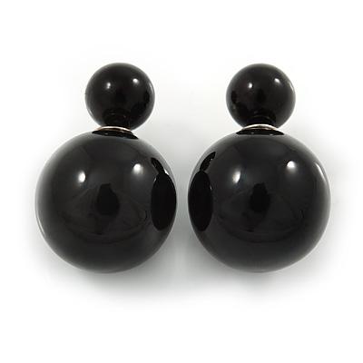 Black Acrylic 7-15mm Double Ball Stud Earrings In Silver Tone Metal - main view