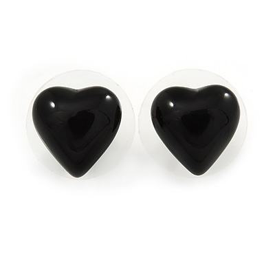 Small Black Acrylic Heart Stud Earrings In Silver Tone - 10mm L - main view