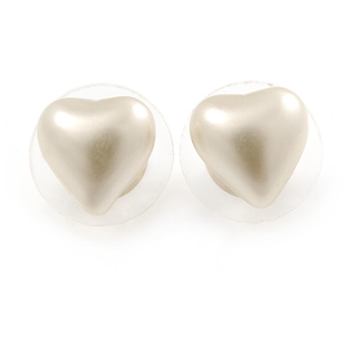 Small Cream Acrylic Heart Stud Earrings In Gold Tone - 10mm L - main view