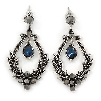 Victorian Style Hematite/ Dark Blue Crystal Drop Earrings In Antique Silver Tone Metal - 55mm L - main view