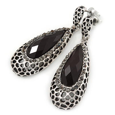 Antique Silver, Hematite Crystal, Black Acrylic Stone Teardrop Earrings - 50mm L - main view