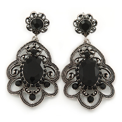 Victorian Style Filigree Black Glass, Crystal Drop Earrings In Antique Silver Tone - 50mm L - main view