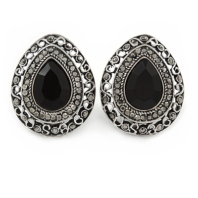 Marcasite Black/ Hematite Crystal Teardrop Clip On Earrings In Antique Silver Metal - 27mm - main view