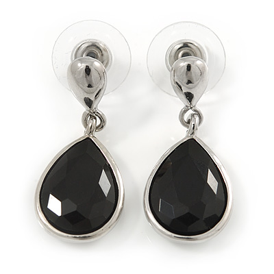 Silver Tone Teardrop Jet Black Faceted Glass Stone Drop Earrings - 30mm L - main view