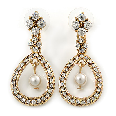 Art Deco Bridal/Prom/Wedding White Simulated Pearl Crystal Drop Earrings In Gold Tone - 30mm L 0wNopy