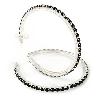 Jet Black Crystal Hoop Earrings In Rhodium Plating - 60mm D - main view