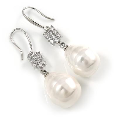 Bridal/ Prom/ Wedding White Freshwater Pearl Clear Crystal Teardrop Earrings 925 Sterling Silver - 40mm L