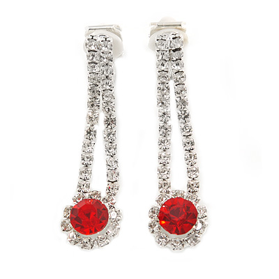 Delicate Red/ Clear Crystal Teardrop Clip On Earrings In Silver Tone Metal - 40mm L