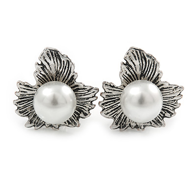 Vintage Inspired Maple Leaf with Simulated Pearl Bead Clip On Earrings In Silver Tone - 20mm L