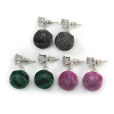 3 Pairs of Glittering Fabric Disco Ball Drop Earring Set In Silver Tone (Green, Black, Pink) - 30mm Drop