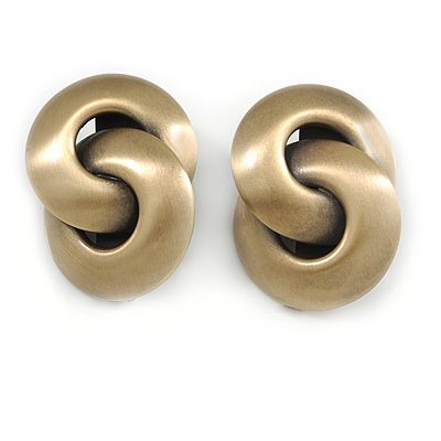 Large Infinity Motif Clip On Earrings In Brushed Brass Tone Metal - 45mm L