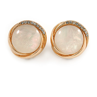 Round Milky White Glass Stone with Crystal Accent Clip On Earrings In Gold Plated Metal - 20mm D