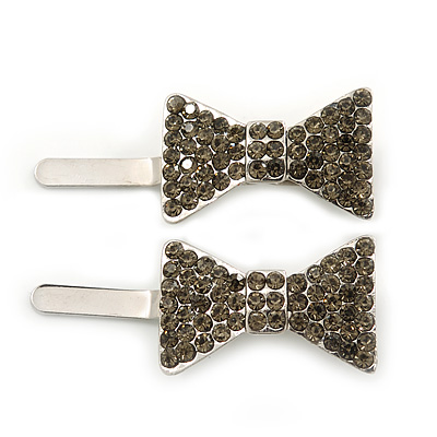 Pair Of Ligth Grey Pave Set Swarovski Crystal 'Bow' Magnetic Hair Slides In Rhodium Plating - 40mm Length