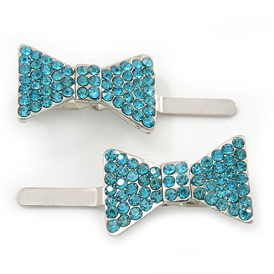 Pair Of Ligth Blue Pave Set Swarovski Crystal 'Bow' Magnetic Hair Slides In Rhodium Plating - 40mm Length