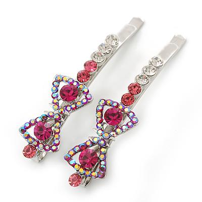 Pair Of Fuchsia/Pink/ AB Swarovski Crystal 'Bow' Hair Slides In Rhodium Plating - 60mm Length