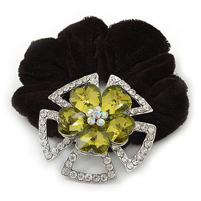 Large Layered Rhodium Plated Swarovski Crystal 'Flower' Pony Tail Black Hair Scrunchie - Olive Green/ Clear/ AB