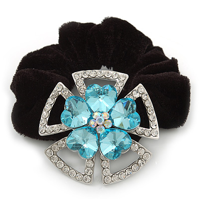 Large Layered Rhodium Plated Swarovski Crystal 'Flower' Pony Tail Black Hair Scrunchie - Light Blue/ Clear/ AB