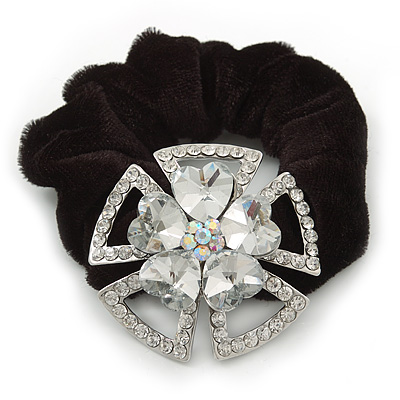 Large Layered Rhodium Plated Swarovski Crystal 'Flower' Pony Tail Black Hair Scrunchie - Clear/ AB