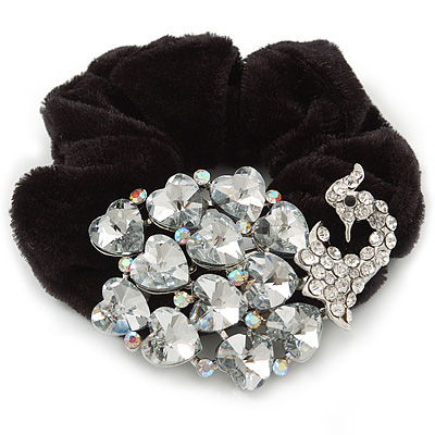Large Rhodium Plated Crystal Peacock Pony Tail Black Hair Scrunchie - Clear