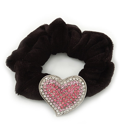 Rhodium Plated Swarovski Crystal Classic 'Heart' Pony Tail Black Hair Scrunchie - Clear/ Pink