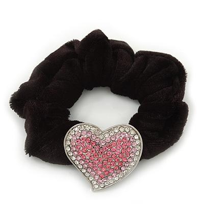 Rhodium Plated Swarovski Crystal Classic 'Heart' Pony Tail Black Hair Scrunchie - Clear/ Pink