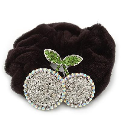 Rhodium Plated Swarovski Crystal 'Double Cherry' Pony Tail Black Hair Scrunchie - Clear/ Grass Green