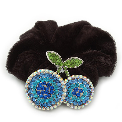 Rhodium Plated Swarovski Crystal 'Double Cherry' Pony Tail Black Hair Scrunchie - AB/ Blue