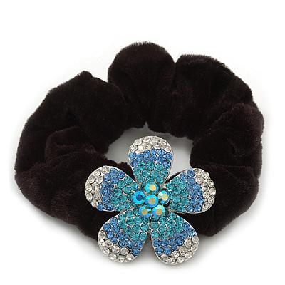 Medium Rhodium Plated Swarovski Crystal Flower Pony Tail Black Hair Scrunchie - Blue