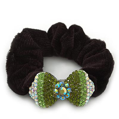 Rhodium Plated Swarovski Crystal 'Bow' Pony Tail Black Hair Scrunchie - Grass Green/ Olive/ AB - main view