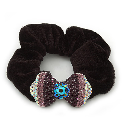 Rhodium Plated Swarovski Crystal 'Bow' Pony Tail Black Hair Scrunchie - Amethyst/ Purple/ AB
