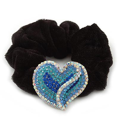 Rhodium Plated Swarovski Crystal Crinkle 'Heart' Pony Tail Black Hair Scrunchie - AB/ Blue
